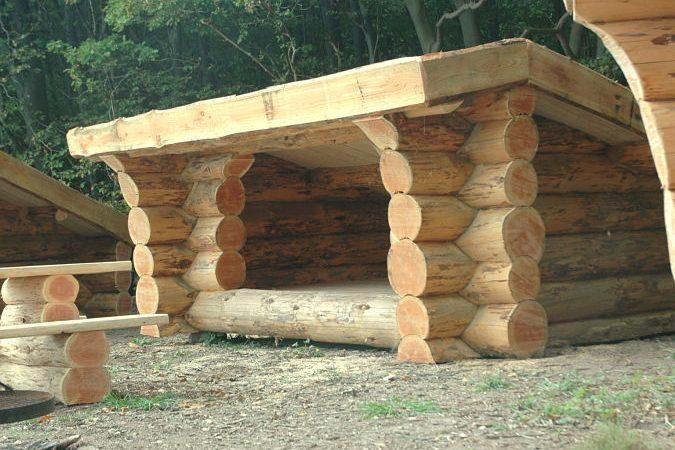 Shelter. Fed shelter i douglasgran og med græstag.